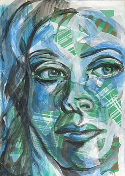 Architectonisch portret in blauw en groen van ART Eva Maria