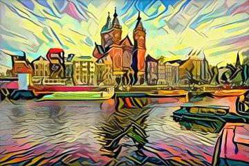 Abstract kunstwerk Amsterdam: Centraal Station Amsterdam in stijl van Picasso