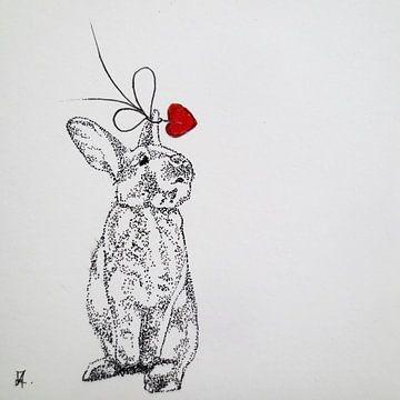 HeartFlow Konijn 1 van Helma van der Zwan