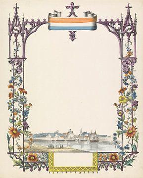 Wunschbrief mit Blick auf Delft von Anonym, 1829 - 1880