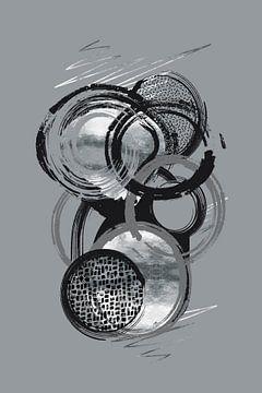 Dynamische Kunst Nr. 1 silber - Lebensabschnitte von Melanie Viola