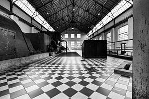 Architectuur in zwart wit C-Mine Genk Belgie
