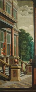 Zevendelige kamerbeschildering: Een buitentrap, Dirck van Delen