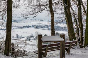 Uitzicht op de Eyserhalte in de sneeuw van
