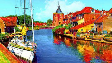 Zicht op Drommedaris in Enkhuizen van Digital Art Nederland