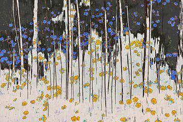 Impressionistische farbenfrohe Darstellung von Bäumen und Blumen von Herman Kremer