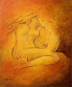 Een brandende passie - Naakt schilderij Liefde paar van