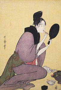 Kuchi-beni] = [Painting the lips], Kitagawa, Utamaro (1753?-1806), (Artist), Date Created: ca. 1793-