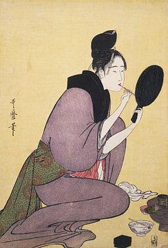Kuchi-beni] = [Painting the lips], Kitagawa, Utamaro (1753?-1806), (Artist), Date Created: ca. 1793- sur