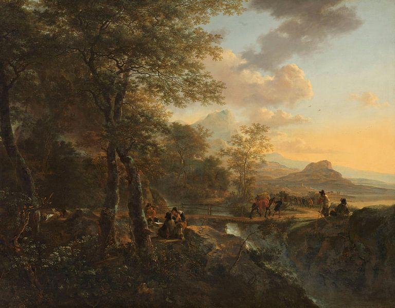 Italienische Landschaft mit einem Bauzeichner, Jan Both von Meesterlijcke Meesters