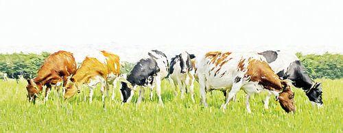 Koeien in stijlvol minimalistisch landschap (grof penseel)