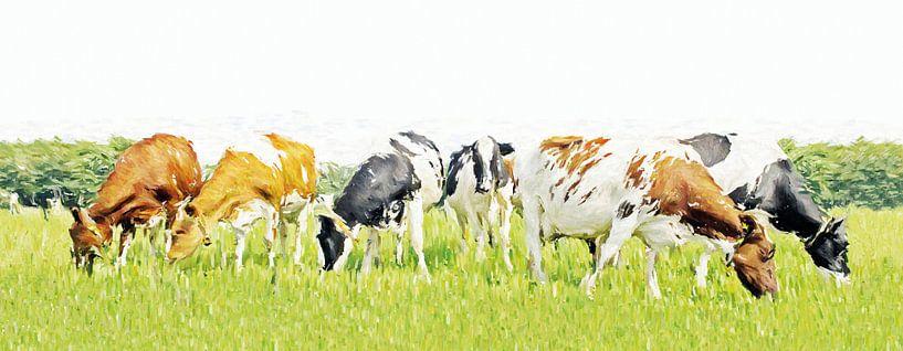 Koeien in stijlvol minimalistisch landschap (grof penseel) van Color Square