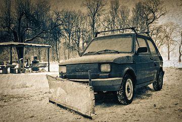 De Trabant als sneeuwschuiver van Rene du Chatenier