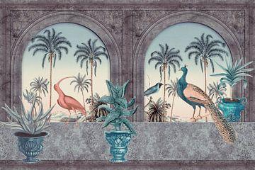 Tropische ochtend met pauw en reiger van Andrea Haase