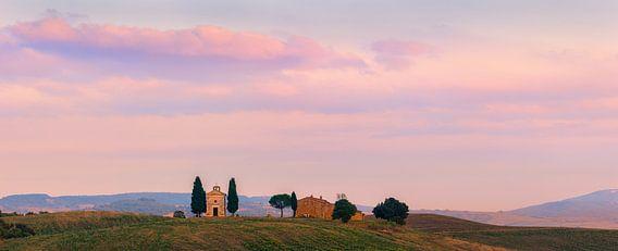 Panorama kapel Madonna di Vitaleta, Toscane, Italië