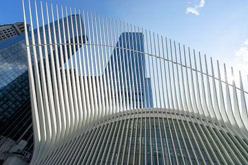 The Oculus in New York vanaf de straat. van Monique van Helden