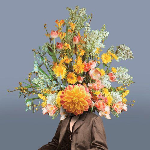 Zelfportret met bloemen 2 (blauwgrijs)