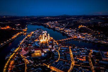 Stadt Passau an der Donau bei Nacht