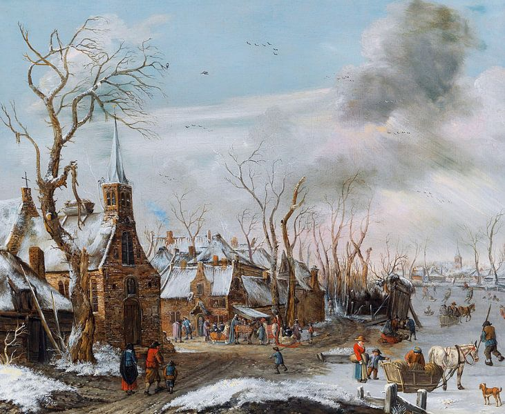 Winter mit Markt, Salomonrombouts - 1702 von Atelier Liesjes