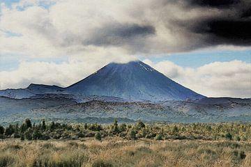Hügelige, gebirgige Landschaft mit Vulkan - Neuseeland - Mount Taranaki - Gemälde von Schildersatelier van der Ven