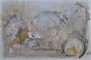 Golden touche Abstract schilderij van Kunstenares Mir Mirthe Kolkman van der Klip