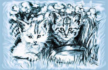 Blue Baby Cats van Gitta Gläser