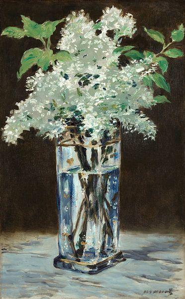 Weißes Flieder in einer Kristallvase, Édouard Manet von Meesterlijcke Meesters