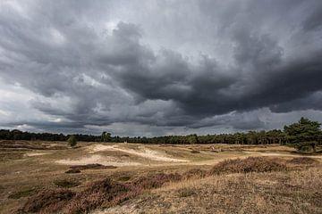 Dreigende wolkeluchten boven landgoed Heidestein van