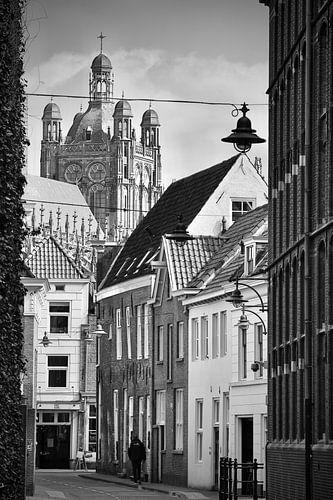 Die Waterstraat in Den Bosch in schwarz und weiß