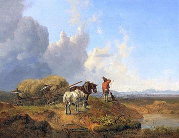 Der umgestürzte Heuwagen, HEINRICH BÜRKEL, 1841 von Atelier Liesjes