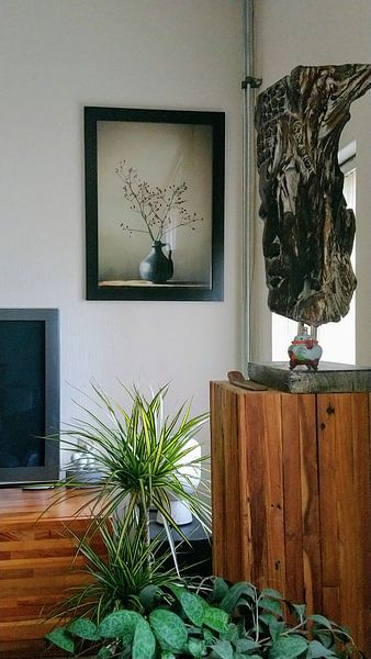 Kundenfoto: Blaue Vase mit Beeren von Karin Bazuin, auf poster