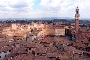Uitzicht op Siena Piazza del Campo italië