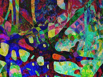 Modern, Abstract Digitaal Kunstwerk in Groen, Blauw, Paars, Roze van Art By Dominic