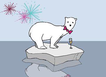 Eisbär mit Champagner von Cato Duys