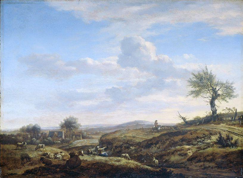Heuvelachtig landschap met hoge weg, Adriaen van de Velde, 1660 - 1672 van Hollandse Meesters