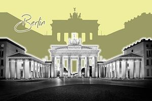 BERLIJN, de Brandenburger Tor | Graphic Art | geel