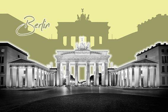BERLIJN, de Brandenburger Tor   Graphic Art   geel van Melanie Viola