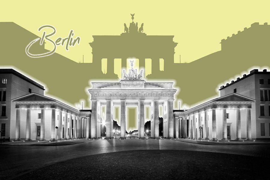 BERLIJN, de Brandenburger Tor | Graphic Art | geel van Melanie Viola