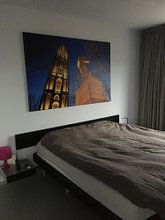 Klantfoto: Verzetsmonument en Domtoren in Utrecht (2) van Donker Utrecht, op canvas