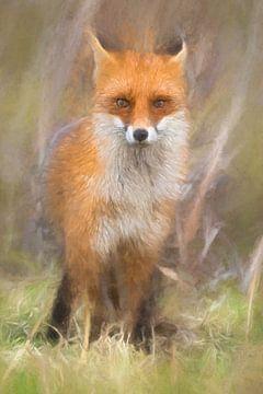 Geschilderd Vossen portret van Arjen Roos