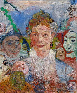 James Ensor. Alte Dame mit Masken