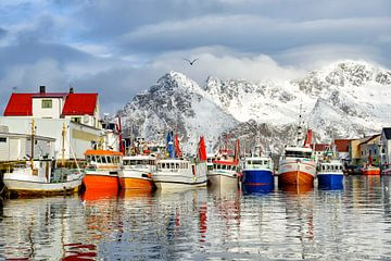 Fischerboote im Hafen von Henningsvaer auf den Lofoten in Norwegen von Sjoerd van der Wal