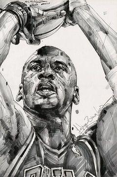 Michael Jordan, Chicago Bulls Zeichnung/Kunst von Jos Hoppenbrouwers