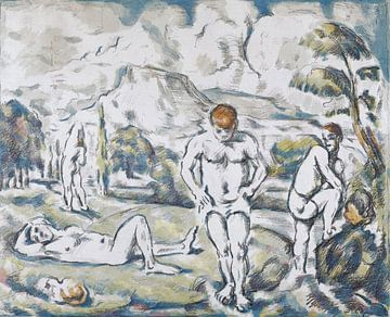 Paul Cézanne, De Baders, 1898, litho van Atelier Liesjes