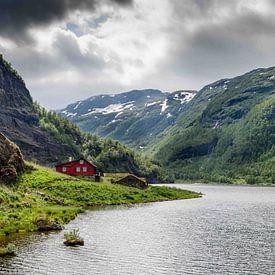 Rode huis in de Noorse bergen van Ricardo Bouman   Fotografie