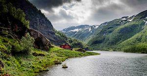 Rode huis in de Noorse bergen van