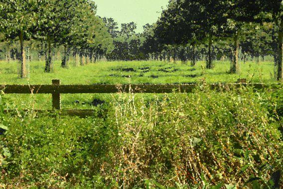 Holländische Landschaft, grüne Wiesenbäume, Ölfarbe