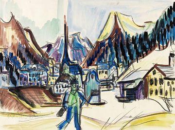 Gezicht op Davos (landschap nabij Davos in de winter), ERNST LUDWIG KIRCHNER, rond 1925 van Atelier Liesjes