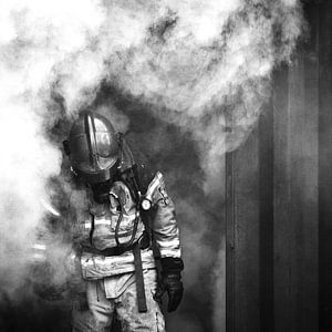Brandweerman, zwart wit