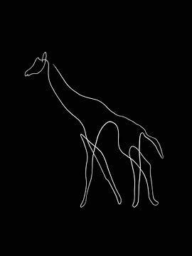 Giraffe One Line zwart van DominixArt